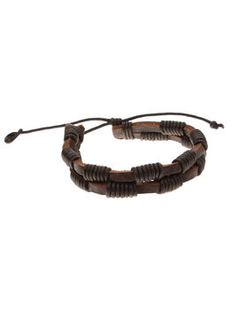 Eternz handmade leather bracelet with twin brown strap