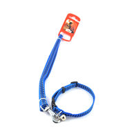Easypets CASUAL Adjustable small Pet dog leash with collar (Small) (Dark Blue)