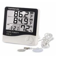 Digital Hygrometer Thermometer Humidity Meter With Clock HTC-2