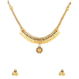 DUMMY-Voylla Traditional Gold Plated Coin Necklace Set Adorned with Pink and Green Color Stones-SCBOM22617