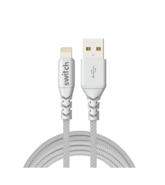 SWITCH ULTRA RUGGED USB A TO MFI LIGHTNING CHARGE AND SYNC CABLE, 1.8m,  white