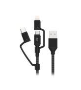 MYCANDY 3 IN 1 MICRO TYPE C MFI LIGHTNING CHARGE AND SYNC CABLE 1.5M BLACK