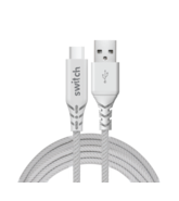SWITCH ULTRA RUGGED USB A TO TYPE C CHARGE & SYNC CABLE, 1.2m,  white