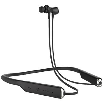 SWITCH NECKBAND BLUETOOTH HEADSET WITH MAGNETIC EARBUDS, FLEXIBLE NECKBAND AND MIC,  black