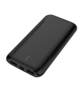 MYCANDY 10K MAH SLIM DUAL USB OUTPUT AND TYPE C INPUT/OUTPUT POWERBANK,  black