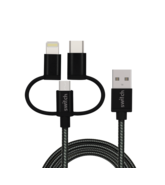SWITCH 3 IN 1 MICRO TYPE C MFI LIGHTNING CHARGE AND SYNC CABLE BLACK, 1.8m,  black