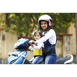 KID SAFE BELT - Two Wheeler Child Safety Belt - World's 1st Trusted & Leading (Sport Yellow), yellow