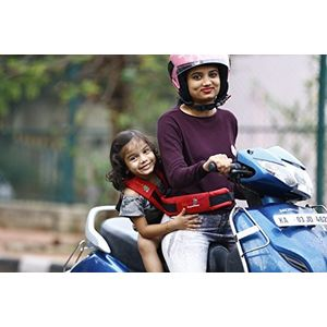 KIDSAFEBELT - Two Wheeler Child Safety Belt - World's 1st, Trusted & Leading (Air Red), red