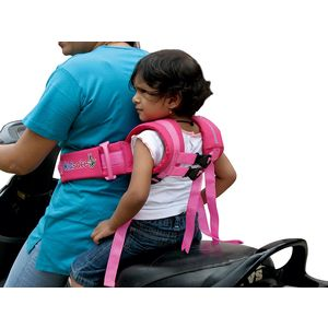 KIDSAFEBELT - Two Wheeler Child Safety Belt - World's 1st, Trusted & Leading (Air Prime Pink), pink