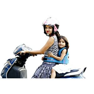 KIDSAFE BELT - Two Wheeler Child Safety Belt - World's 1st, Trusted & Leading (Cool Blue Eyes), blue