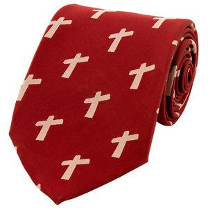 Necktie - Cross Big - Maroon color