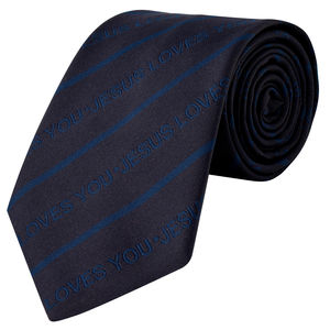 Necktie - Jesus Loves You (Navy Blue colour)