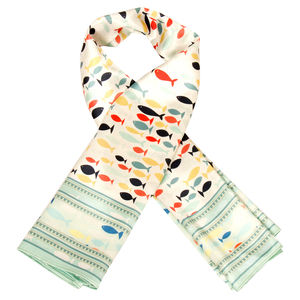 Scarf - Follow me - Pista & cream color