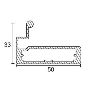 ONYX ALUMINIUM DRAWER & SHUTTER PROFILES - 50MM HANDLE PROFILE (3 MTR), s s  finish