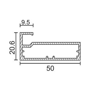 ONYX ALUMINIUM DRAWER & SHUTTER PROFILES - 50MM SHUTTER PROFILE (3 MTR), aluminium finish