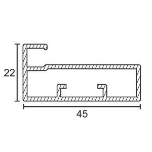 ONYX ALUMINIUM DRAWER & SHUTTER PROFILES - 45MM SHUTTER PROFILE (3 MTR), s s  finish