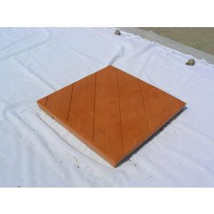 12X12 GLOSSY CHEQUERED TILE (25MM THICKNESS) - CROSS MATT DESIGN, orange