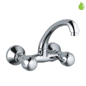 JAQUAR CLARION SERIES QUARTER TURN - CQT-23309 SINK MIXER WALL MOUNTED WITH REGULAR SWINGING SPOUT WITH CONNECTING LEGS AND WALL FLANGES