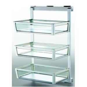 ONYX WARDROBE ACCESSORIES - 3 SHELF LATERAL GLASS SIDE BASKET, W 325 x D 460 x H 960MM