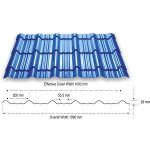 TATA DURASHINE TILE: - NUVO BLUE - THICKNESS 0.47MM x WIDTH 1090MM (3.6FEET), 10feet 3050mm