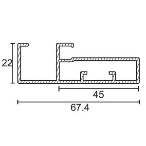 ONYX ALUMINIUM DRAWER & SHUTTER PROFILES - 45MM HANDLE PROFILE (3 MTR), s s  finish