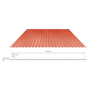 TATA DURASHINE LINER STEEL SHEETS: - CASTLE RED - THICKNESS 0.47MM x WIDTH 1155MM (3.85FEET), 12feet 3660mm