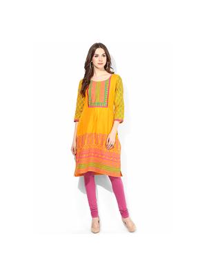 Riya Printed Kurti, xxl,  yellow