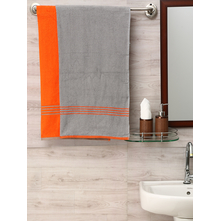 70 cm x 130 cm Bath Towel Set of 2, Orange & Grey
