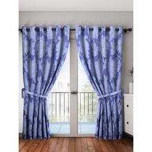 Hexagon Door Curtain Set of 2, Blue