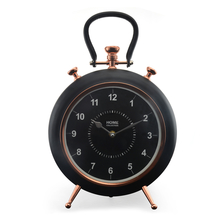Alloy Table Clock - @home by Nilkamal, Black Rose