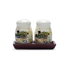 Salt & Pepper With Tray Ceramic, Brown