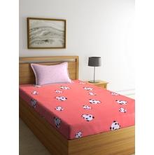 Panda 150 cm x 225 cm Single Bedsheet, Pink