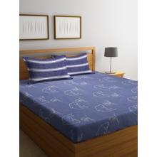 Dolphin 230 cm x 250 cm Double Bedsheet, Blue
