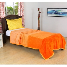 Bands 150 cm x 225 cm Single Blanket -@home by Nilkamal, Orange
