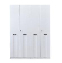 Scoop High Gloss 4 Door Wardrobe - @home By Nilkamal, White