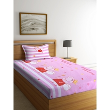 Pig 150 cm x 225 cm Single Bedsheet, Pink