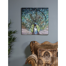 Peacock Encircle Painting, Seagreen