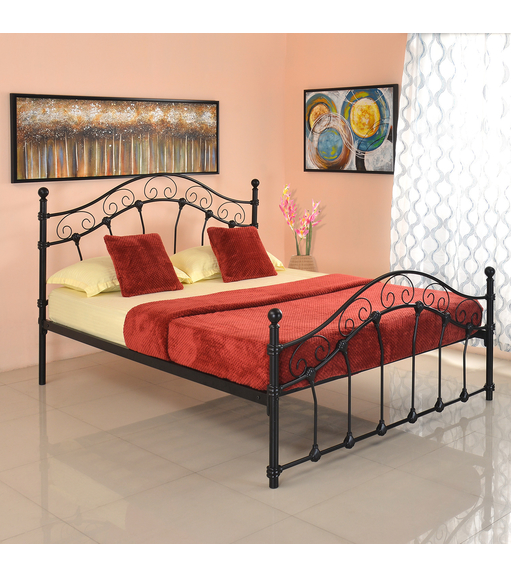 Emma Queen Bed without Storage - @home by Nilkamal, Black