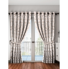 Leaf Door Curtain Set of 2, Grey