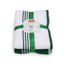 Bath Towel Set of 2, Emerald & White