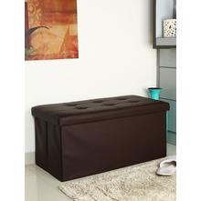 PU Cover 78 cm x 38 cm Storage Stool, Grey & Beige