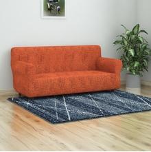 Jaquard Knit Sofa Cover, Orange & Black, 3 seater