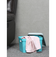 Infinity 17 litre Laundry Basket with Lid, Sea Green