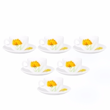 Laopala Glowing Charm 160 ml Cup & Saucer Set of 6, Multicolor