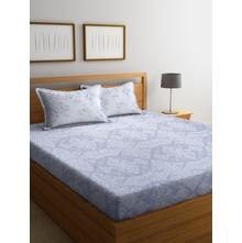 Damask Grid 250 cm x 274 cm Double Bedsheet, Purple