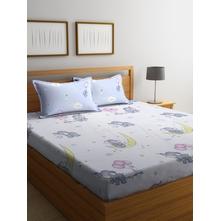 Baby Elephant 230 cm x 250 cm Double Bedsheet, White