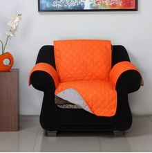 1 Seater Reversible Sofa Cover 179 cm x 165 cm - @home by Nilkamal, Orange & Grey