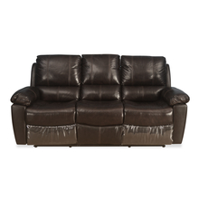 Ethan 3 Seater Sofa With 2 Manual Recliner Half Leather, Russet Brown