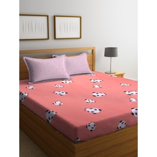 Panda 230 cm x 250 cm Double Bedsheet, Pink