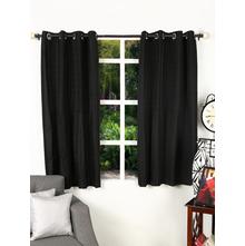 Texture 112 cm x 152 cm Window Curtain Set of 2, Black